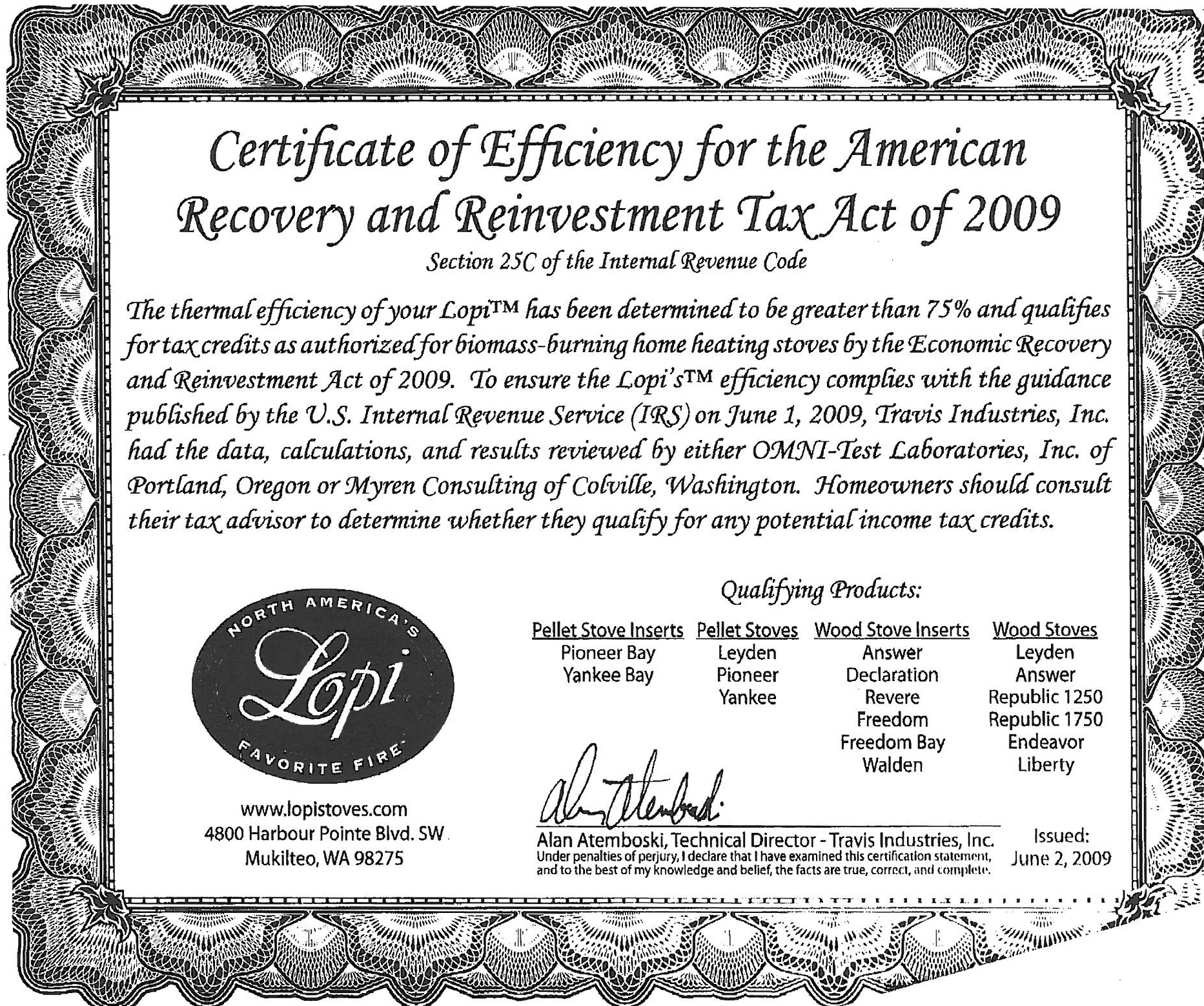 ... Efficiency for the American Recovery and Reinvestment Tax Act of 2009
