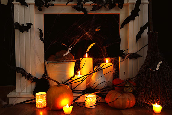 halloween decoration in front of the fireplace doctor flue - Halloween Fireplace