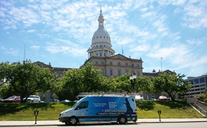 Doctor Flue visits the State Capital Building in Lansing, MI