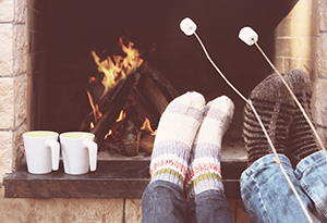 Roasting Marshmallows by Fireplace