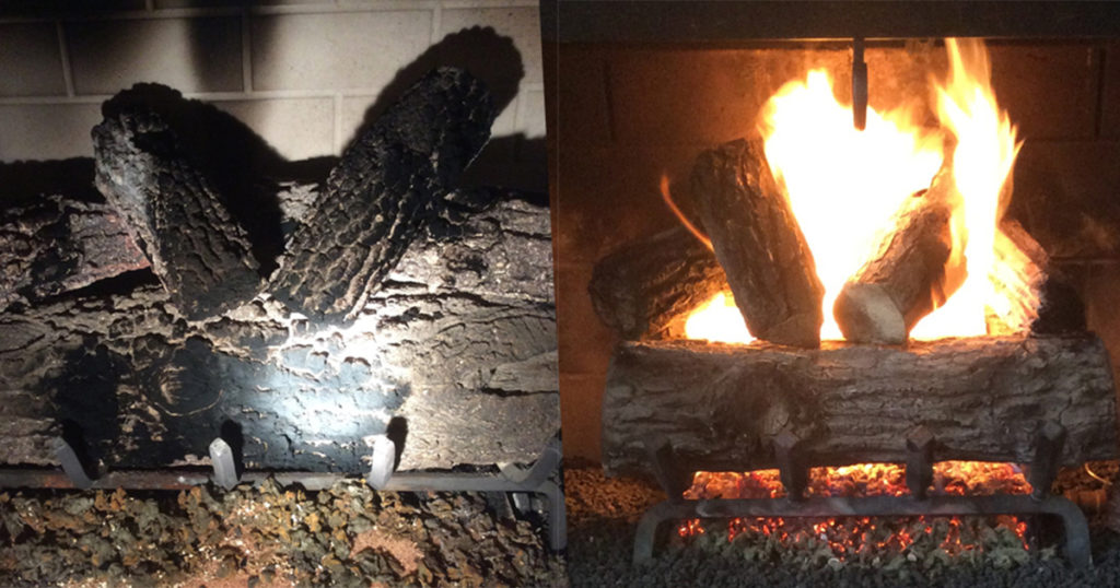 A gas fireplace before and after repairs.