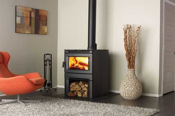A designer wood burning stove in a contemporary setting