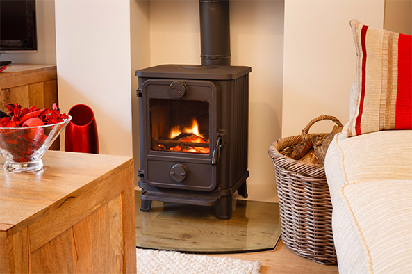 Lit woodstove in a home