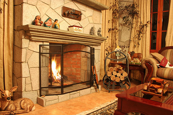 A fireplace in a living room with a screen protecting from an active flame.