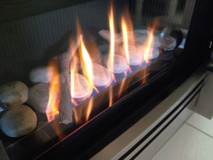 Burning Stones In A Gas Fireplace